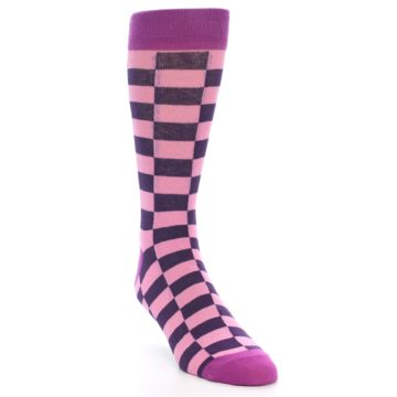Image of Pink Purple Checkered Men's Dress Socks (side-1-front-02)