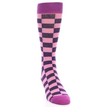 Image of Pink Purple Checkered Men's Dress Socks (side-1-front-03)