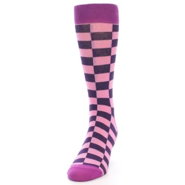 Image of Pink Purple Checkered Men's Dress Socks (side-2-front-06)