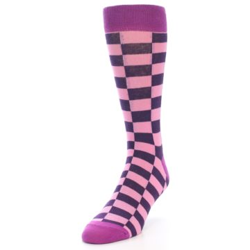 Image of Pink Purple Checkered Men's Dress Socks (side-2-front-07)