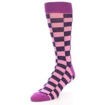 Image of Pink Purple Checkered Men's Dress Socks (side-2-front-08)