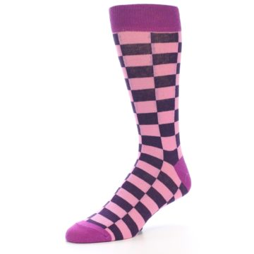 Image of Pink Purple Checkered Men's Dress Socks (side-2-09)