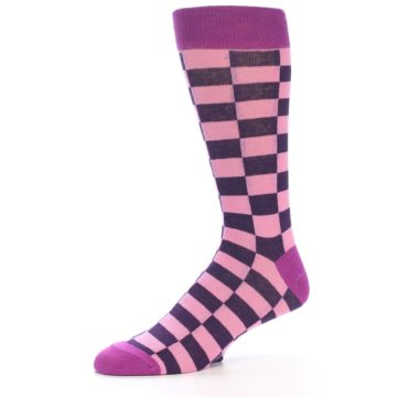Image of Pink Purple Checkered Men's Dress Socks (side-2-10)