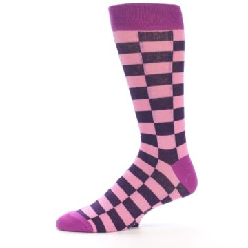 Image of Pink Purple Checkered Men's Dress Socks (side-2-11)