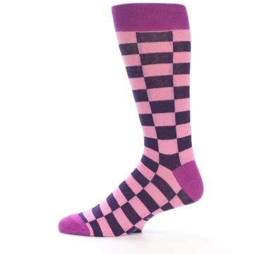 Image of Pink Purple Checkered Men's Dress Socks (side-2-12)
