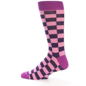 Image of Pink Purple Checkered Men's Dress Socks (side-2-13)
