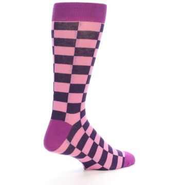 Image of Pink Purple Checkered Men's Dress Socks (side-1-23)