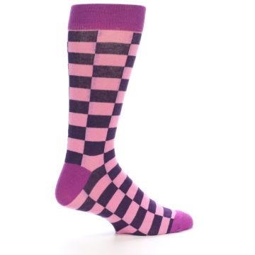 Image of Pink Purple Checkered Men's Dress Socks (side-1-24)