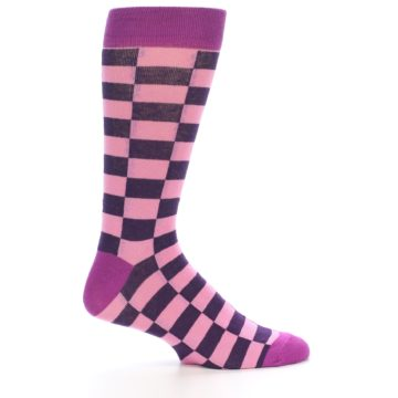 Image of Pink Purple Checkered Men's Dress Socks (side-1-25)