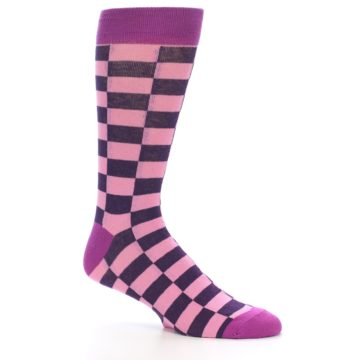 Image of Pink Purple Checkered Men's Dress Socks (side-1-26)