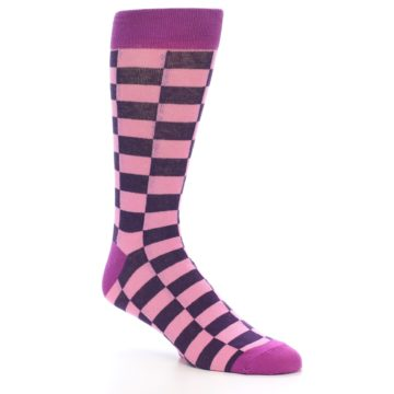 Image of Pink Purple Checkered Men's Dress Socks (side-1-27)