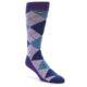 Image of Lavender Navy Teal Argyle Men's Dress Socks (side-1-front-01)