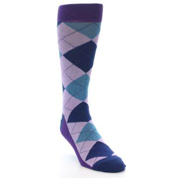 Image of Lavender Navy Teal Argyle Men's Dress Socks (side-1-front-02)