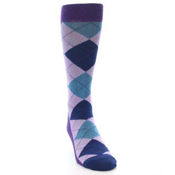 Image of Lavender Navy Teal Argyle Men's Dress Socks (side-1-front-03)