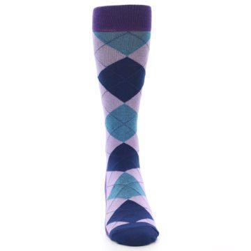 Image of Lavender Navy Teal Argyle Men's Dress Socks (front-04)