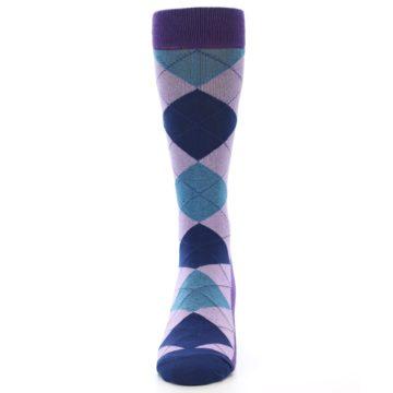 Image of Lavender Navy Teal Argyle Men's Dress Socks (front-05)