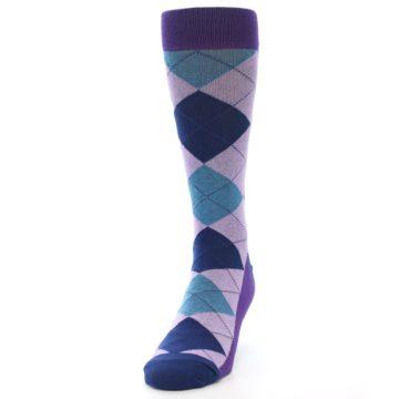 Image of Lavender Navy Teal Argyle Men's Dress Socks (side-2-front-06)