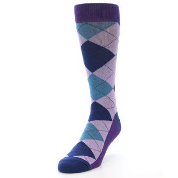 Image of Lavender Navy Teal Argyle Men's Dress Socks (side-2-front-07)