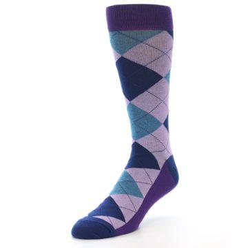 Image of Lavender Navy Teal Argyle Men's Dress Socks (side-2-front-08)