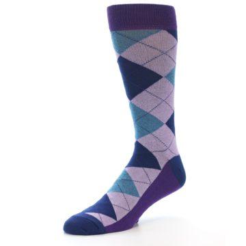 Image of Lavender Navy Teal Argyle Men's Dress Socks (side-2-09)
