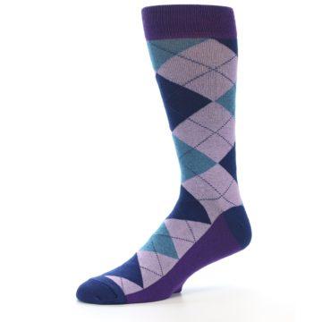 Image of Lavender Navy Teal Argyle Men's Dress Socks (side-2-10)