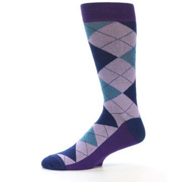 Image of Lavender Navy Teal Argyle Men's Dress Socks (side-2-11)