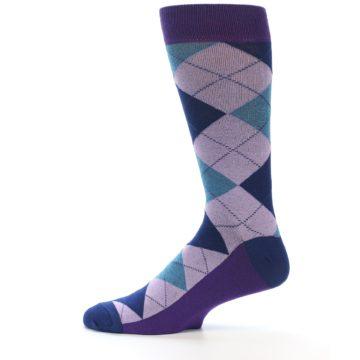 Image of Lavender Navy Teal Argyle Men's Dress Socks (side-2-12)