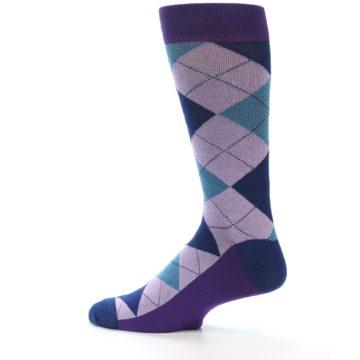 Image of Lavender Navy Teal Argyle Men's Dress Socks (side-2-13)