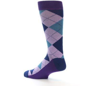 Image of Lavender Navy Teal Argyle Men's Dress Socks (side-2-back-14)
