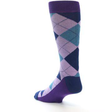 Image of Lavender Navy Teal Argyle Men's Dress Socks (side-2-back-15)