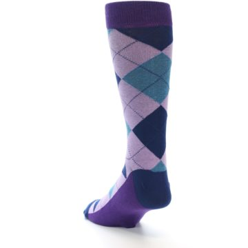 Image of Lavender Navy Teal Argyle Men's Dress Socks (side-2-back-16)