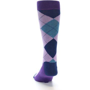 Image of Lavender Navy Teal Argyle Men's Dress Socks (back-17)