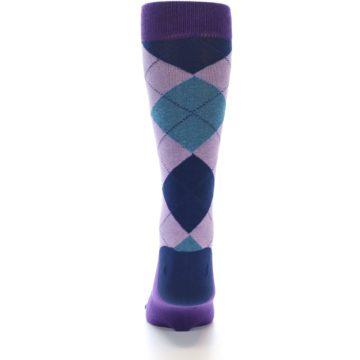 Image of Lavender Navy Teal Argyle Men's Dress Socks (back-18)