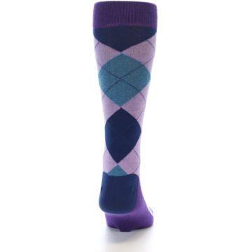 Image of Lavender Navy Teal Argyle Men's Dress Socks (back-19)