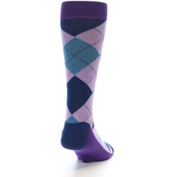Image of Lavender Navy Teal Argyle Men's Dress Socks (side-1-back-20)