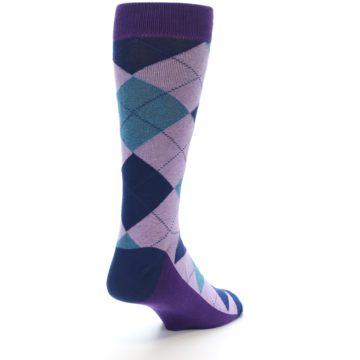 Image of Lavender Navy Teal Argyle Men's Dress Socks (side-1-back-21)