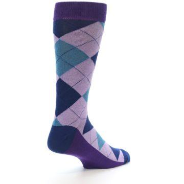 Image of Lavender Navy Teal Argyle Men's Dress Socks (side-1-back-22)