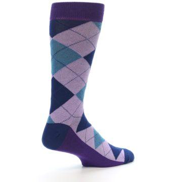 Image of Lavender Navy Teal Argyle Men's Dress Socks (side-1-23)