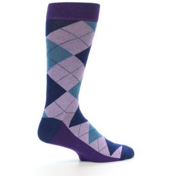 Image of Lavender Navy Teal Argyle Men's Dress Socks (side-1-24)