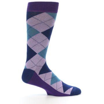 Image of Lavender Navy Teal Argyle Men's Dress Socks (side-1-25)