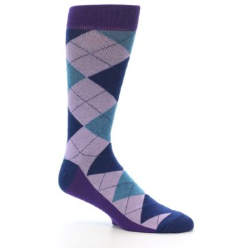 Image of Lavender Navy Teal Argyle Men's Dress Socks (side-1-26)