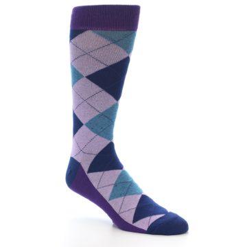 Image of Lavender Navy Teal Argyle Men's Dress Socks (side-1-27)
