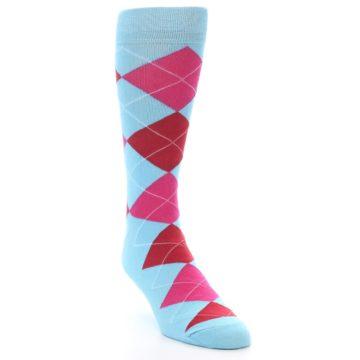 Image of Light Blue Red Pink Argyle Men's Dress Socks (side-1-front-02)