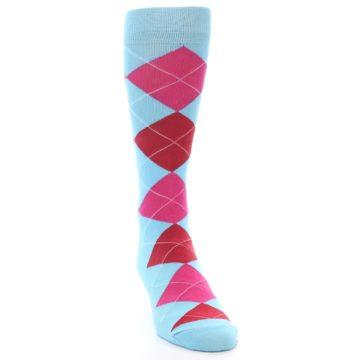 Image of Light Blue Red Pink Argyle Men's Dress Socks (side-1-front-03)