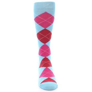 Image of Light Blue Red Pink Argyle Men's Dress Socks (front-04)