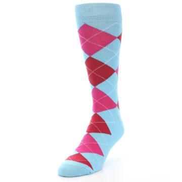 Image of Light Blue Red Pink Argyle Men's Dress Socks (side-2-front-07)