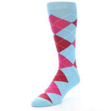 Image of Light Blue Red Pink Argyle Men's Dress Socks (side-2-front-08)