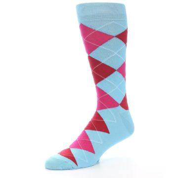 Image of Light Blue Red Pink Argyle Men's Dress Socks (side-2-09)