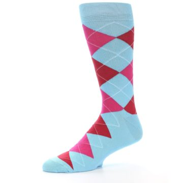 Image of Light Blue Red Pink Argyle Men's Dress Socks (side-2-10)