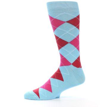 Image of Light Blue Red Pink Argyle Men's Dress Socks (side-2-11)